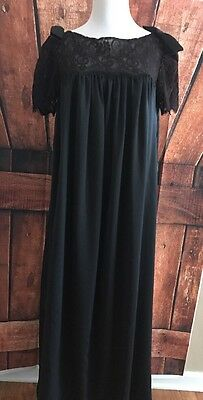 Vintage Lily of France Black Lace Nightgown Long Goth Silk Rosa Puleo-spule Med