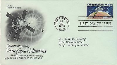 1978 - Fdc - Commemorating Viking Space Missions -Unmanned Space Accomplishments