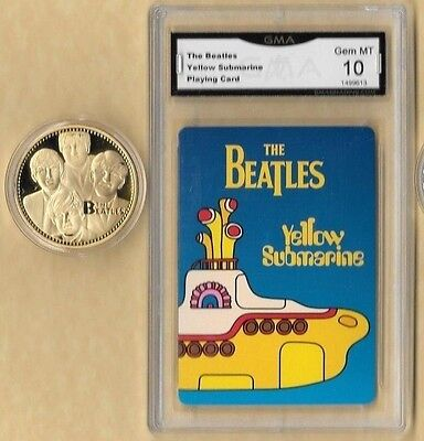 """BEATLES """"YELLOW SUBMARINE"""" PLAYING CARD 10 MINT & Gold  Coin"""