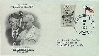 1979 - FDC - POPE VISITS THE WHITE HOUSE w/JIMMY CARTER - OCTOBER 6 1979