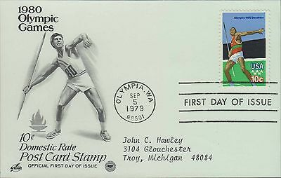 1979 - Fdc Postcard - 1980 Olympic Games - 10 Cent Domestic Rate - Javelin