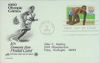 1979 - Fdc Postcard - 1980 Olympic Games - 10 Cent Domestic Rate - Track