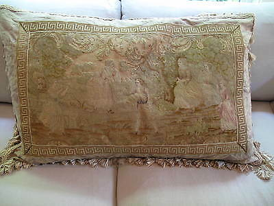 "HUGE 24"" X 40"" ANTIQUE 19TH c FRENCH NEEDLEPOINT TAPESTRY PILLOW- FIGURAL"