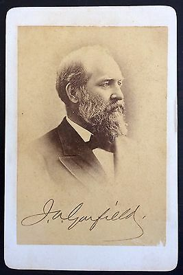 Amazing U.s. President James Garfield Autograph Antique Cabinet Card Photograph