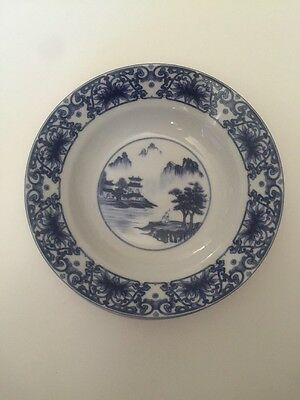 5 Chinese Canton Blue & White Porcelain 8 Inch Salad Soup Bowls