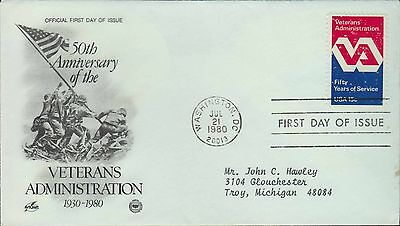 1980 - Fdc - 50Th Anniversary - Veterans Administration