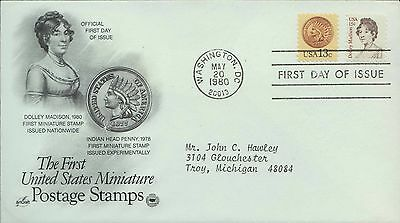 1980 - Fdc - Dolley Madison / Indian Head Penny - Miniature Postage Stamps
