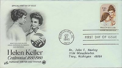 1980 - FDC - HELEN KELLER - HUMANIST WRITER and THINKER