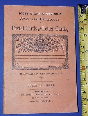 1898 Scott Stamp And Coin Catalogue Of Postal & Letter Cards Collector Reference