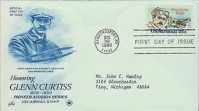 1980 - Fdc - Honoring Glenn Curtiss - Pioneer Aviation Series