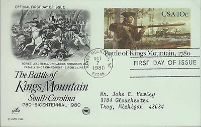 1980 - Fdc Postcard - The Battle Of Kings Mountain South Carolina