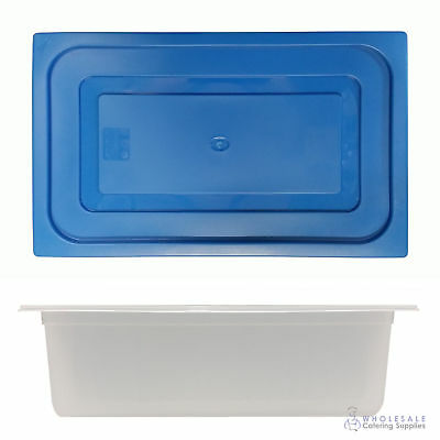 12x Food Pan with Blue Lid 1/1 GN 200mm Full Size Polypropylene Gastronorm