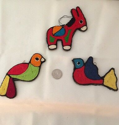 3,Pc Handmade Xmas Ornaments Needlework Yarn Bird Donkey Great Colors