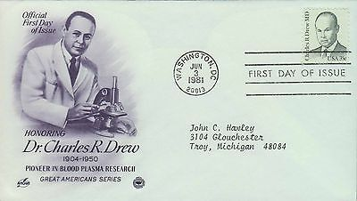 1981 - Fdc - Honoring Dr Charles R Drew - Pioneer In Blood Plasma Research