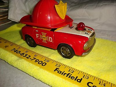 Vintage Bandai Toy FD Fire Department Chief Toy Tin Car Battery Operated