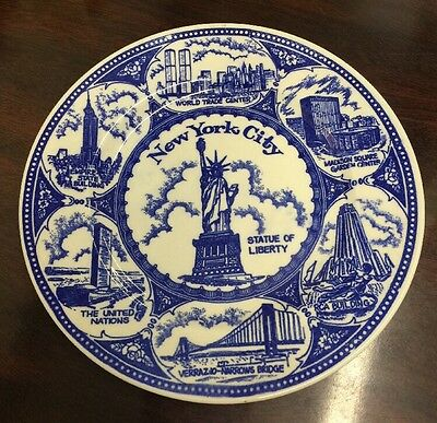 Vintage Porcelain Souvenir Plate of New YorkCity - World Trade Center, Manhattan