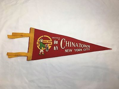 "Vintage 14"" Felt Souvenir Pennant Flag CHINATOWN NEW YORK CITY NYC"