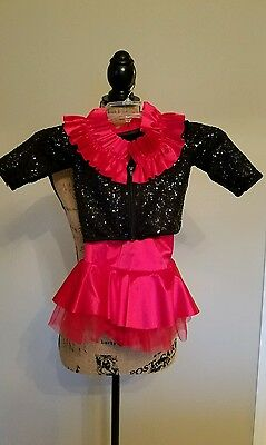 2PC WEISSMAN Girls Sequined Black Red Dance Recital Jazz Costume Ruffle Sz SC
