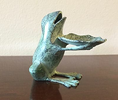 Vintage Frog Holding Lily Pad Verdigris Green Patina Archana Crafts India