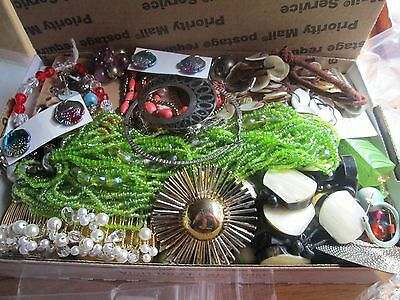 Vint-Now Junk Jewelry Lot----Repair--Parts Beads-Stones-- Loose Beads-All As Is