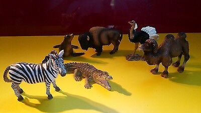 Schleich Lot of 6 animal figurines used pretty good shape