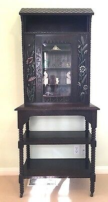 Dutch Curio Cabinet 1900 Antique Dark Wood Intricately Carved, Hand Painted