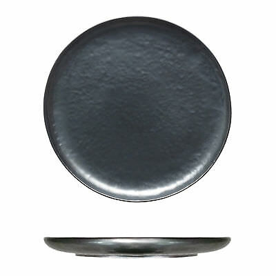 4x Tablekraft Vilamoura Metallic Graphite Round Coupe Plate 275mm
