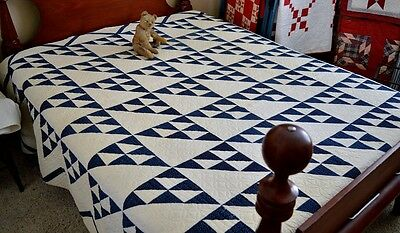 Antique Hand Stitched Indigo Blue and White Birds in the Air Quilt