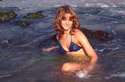 Slide Photo Pretty Teen Tween Girl in Bikini Beach Surf Swimsuit Modeling 1979