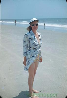 Slide Photo View of Woman in Swimsuit Sunglasses Myrtle Beach 1949