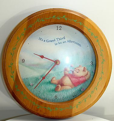 """Winnie the Pooh Clock wall """"It's A Grand Thing, to be an Afternoon"""" Wood Frame"""