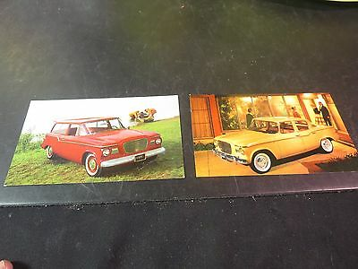 Original Studebaker 1960 Lark 2-Door Station Wagon & 4 Door Sedan Postcards