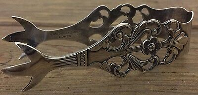 Fancy Sterling Silver Sugar Ice Tongs Viking Rose Pattern TH Marthinsen Norway