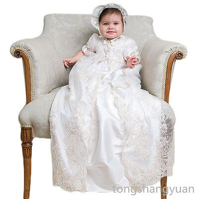 2017 Baptism Outfits Gowns Lace White Christening Dress Free Shipping 0-3 Months