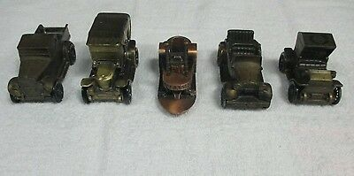 Lot Of 5 Vintage Banthrico Metal Car Coin Banks Ford Chevy Studebaker River Boat