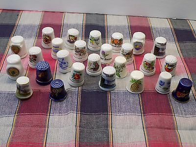 VINTAGE PORCELAIN THIMBLES Pretty Birds Butterflies Flowers and Souvenirs 26 PCS