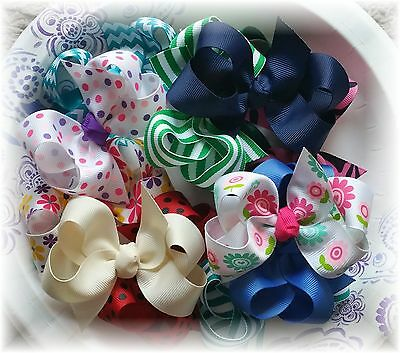 10 Pcs 3 1/2 to 4 Inch Custom Boutique Hair bow lot You choose Colors and Clips