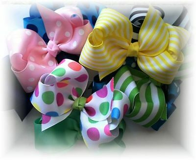 10 Pcs  4 inch Custom Boutique Hair bow lot  You Choose  Colors and Clips