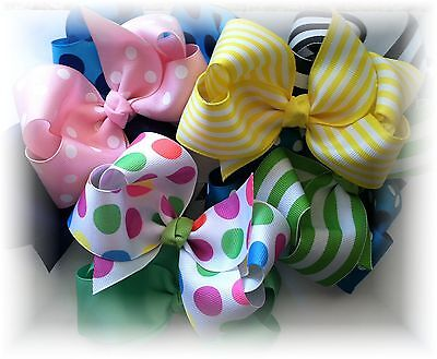 10 Pcs 4 1/2 Inch Custom Boutique Hair Bow Lot You Choose Colors and Clips