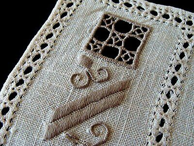 Antique Italian Reticella Lace Linen Placemats Napkins Runner Hand Embroidered