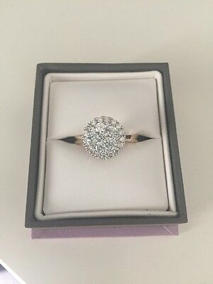1 ct cluster diamond ring, size N, 14 ct yellow gold band