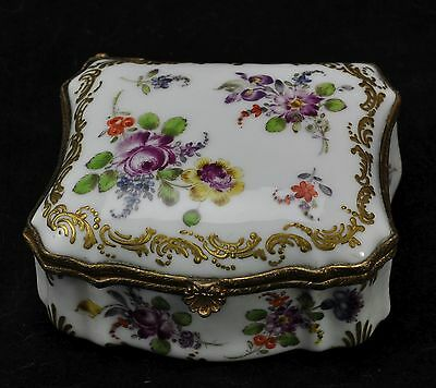 Antique Dresden Hand Painted Porcelain Snuff Box Silesia c 1900