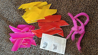 Lot Of Flu Flu Feathers And Tracers - Pink, Yellow, Red
