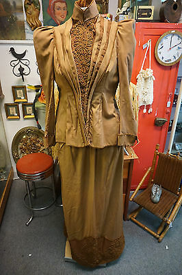 Victorian Walking Suit Edwardian Ladies Womens Tan Brown Cording Antique Dress