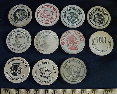 Ten Vintage Wooden Nickels and One TUIT, Logan co., Lansford, Clancys, Geists,