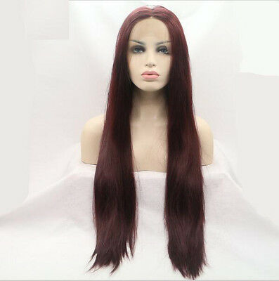 """24"""" 99j Dark Bug Lace Front Wig Heat Resistant Synthetic Hair Straight"""