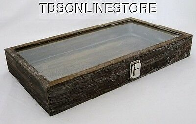Rustic Wood Glass Top Display Case Antique Coffee Color #2