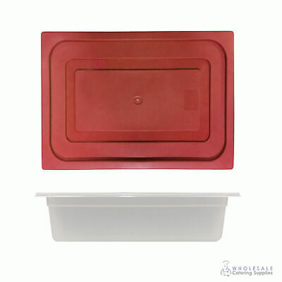 12x Food Pan with Red Lid 1/2 GN 100mm Half Size Polypropylene Gastronorm