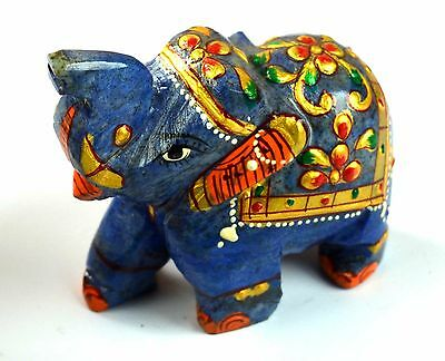 571 Ct Gold Art Work Home Decorative Lapis Lazuli Gemstone Elephant Figurine
