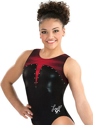 NWT GK Laurie Hernandez Lady in Red Gymnastics Leotard $64.99 AXS, AS, AM E3509